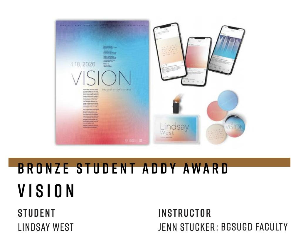 BGSUGD students take home a Mosaic Award, Gold, and Silver at the 2021 Addy Awards!